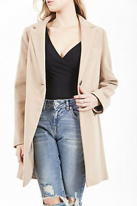 Womens Long Line Camel Smart Casual Jacket Coat Warm ...