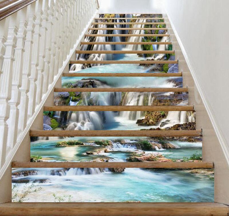 3D Cascade étang 123 contremarches Décoration Photo Murale Autocollant Vinyle Papier Peint US