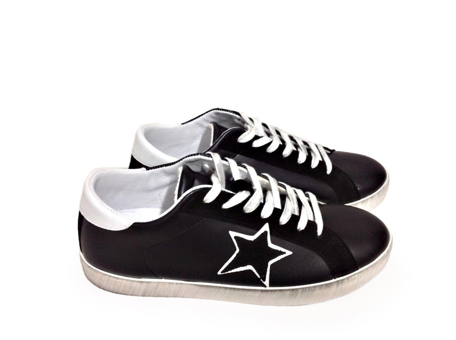Scarpe scarpe da ginnastica basse uomo pelle nero Arish doppia stella bianca camoscio Nuovo | moderno  | Gentiluomo/Signora Scarpa