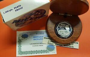 1500-PESETAS-1999-PLATA-MILENIO-ASTRONAUTA-Estuche-Certificado-FNMT-Espana