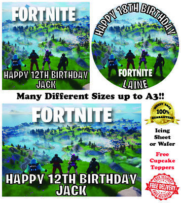 Edible Fortnite Square Cake Topper Cupcake Option Box /& 12mm Board