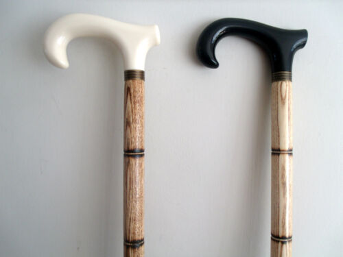 SOLID WOOD WALKING STICK// CANE CROOK HANDLE BRASS RING ZEBRA WOODEN EFFECT NEW