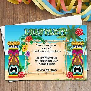 Image Is Loading 10 Personalised Luau Hawaii Summer Garden Birthday Party