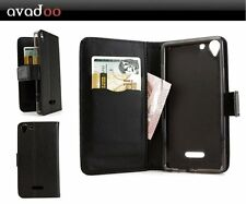 avadoo® Wiko Selfy 4G Flip Case Cover Ledertasche Schwarz als Hülle