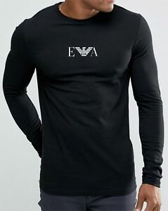 Emporio-Armani-E-A-Black-Mens-Long-sleve-T-shirt-Size-M-L-XL