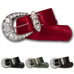 Sexy Damen Strass Gürtel Steine große Silber Schnalle Glamour Luxus Vintage Neu