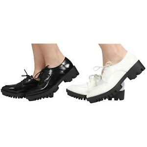 NEW-WOMENS-LADIES-LACE-UP-GEEK-BROGUE-CHUNKY-LOW-HEEL-SHOES-SIZE-3-8