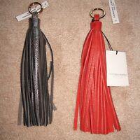 Vittoria Napoli Key Ring Handbag Charm Leather Tassel Red & Pewter Silver