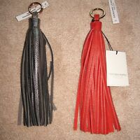 Vittoria Napoli Key Ring Handbag Charm Leather Tassel Red & Pewter Silver