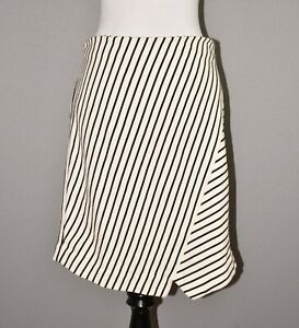 ANN-TAYLOR-LOFT-69-Ivory-Navy-Striped-Asymmetric-A-line-Skirt-Small