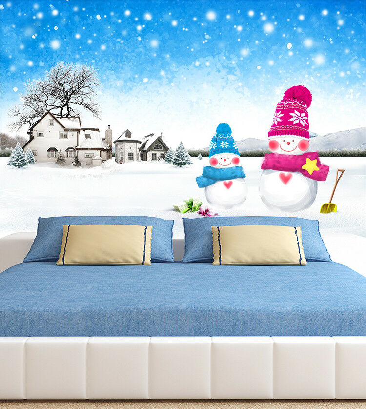 3D Snowmans Houses 88 Wall Paper Murals Wall Print Wall Wallpaper Mural AU Kyra