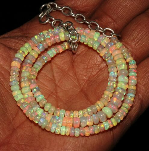 """50 Ctw 1Necklace 3to5 mm16/"""" Beads Natural Genuine Ethiopian Welo Fire Opal*B2016"""