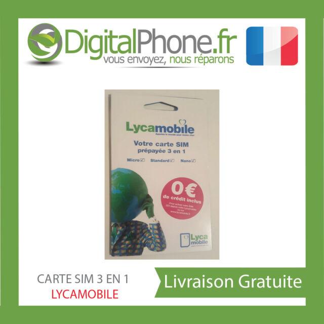 CARTE SIM LYCAMOBILE (réseau bouygues télécom) 0 EUROS COMMUNICATION