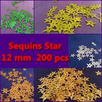 200 x Sequin Star 12 mm- Light Green, Green, Gold, Silver, Hologram Gold