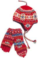 $66 Lost Horizons Snowflake Holiday Earflap Hat & Mittens Wool Nepal L/xl