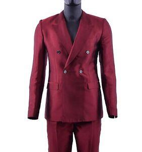 DOLCE-amp-GABBANA-Zweireihiger-Sommer-Anzug-Seide-Sakko-Blazer-Hose-Rot-Suit-05264