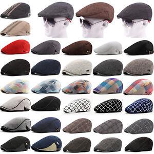 Mens-Cabbie-Gatsby-Hats-Newsboy-Ivy-Golf-Driving-Cap-Classic-Plaid-Herringbone