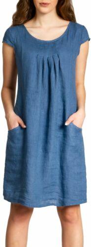 Caspar SKL025 Elegant Women Knee-Length Linen Summer Dress Casual Pockets