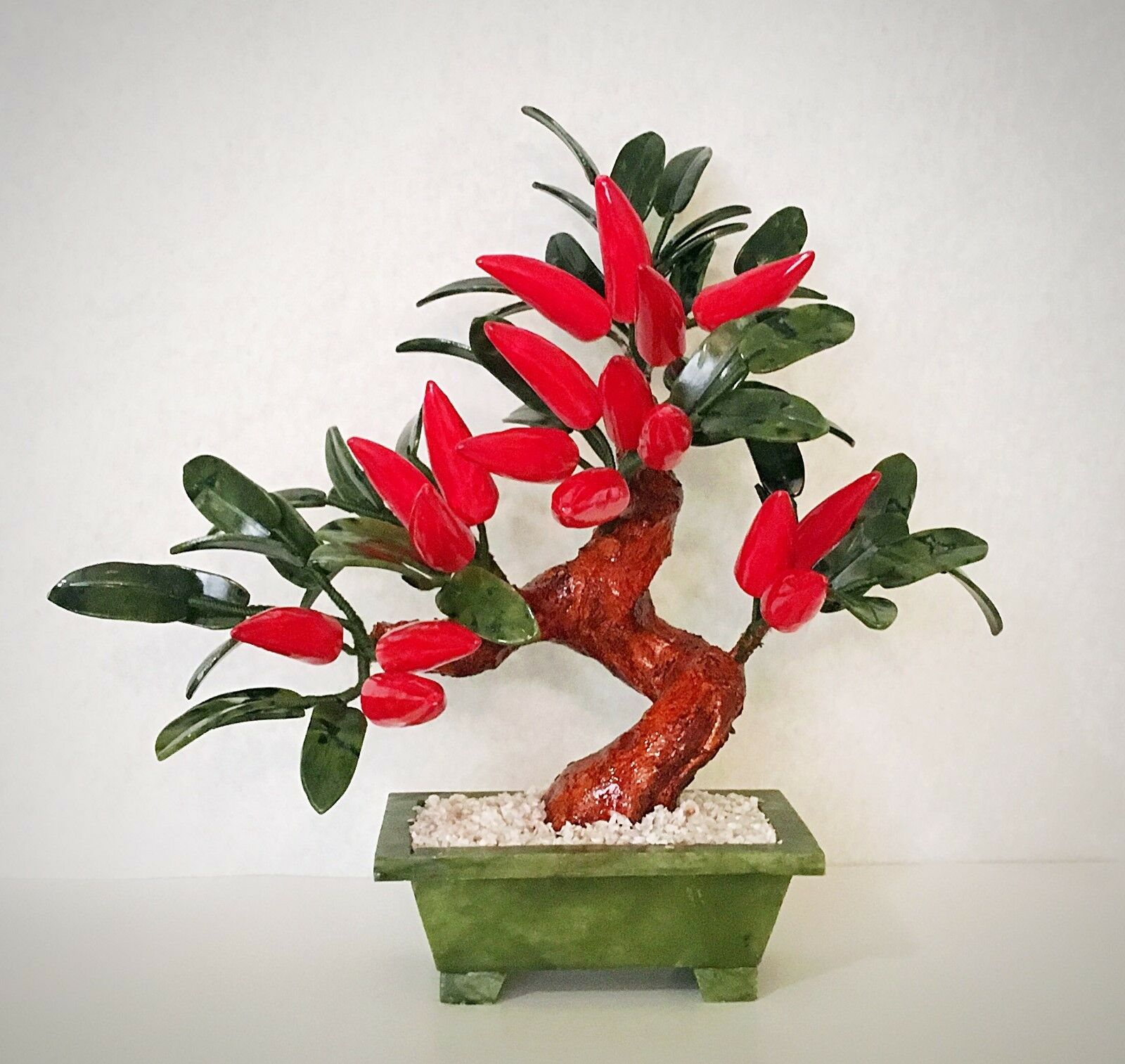 Handcrafted Jade and Glass Artificial rot Pepper Bonsai Tree Plant Basket