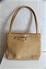 TEXIER joli sac à main en cuir lisse beige  EXCELLENT ÉTAT