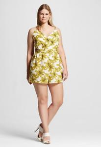 e509ef038ead NEW Women s Plus Size Renn Sleeveless Floral Print Romper White ...