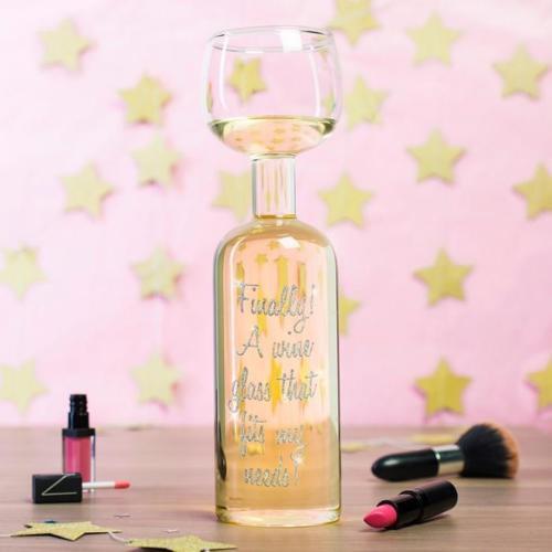 EXCLUSIVE NEW GLITTER WINE BOTTLE GLASS HOLD FULL BOTTLE OF WINE XMAS GIFT IDEA