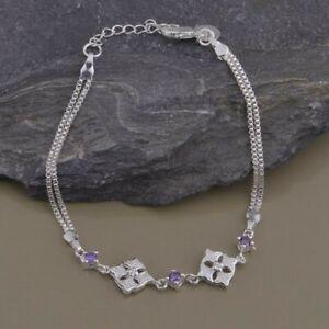 Bracelet-argent-034-Square-Medallions-and-Amethyst-034-Envoi-de-France-immediat