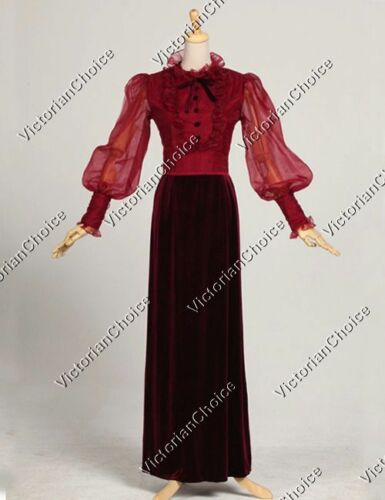 Victorian Costumes: Dresses, Saloon Girls, Southern Belle, Witch    Victorian Edwardian Titanic Romantic Velvet Dress Gown Theatrical Costume 311  AT vintagedancer.com