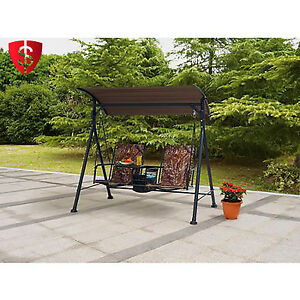 Outdoor 2 Seat Porch Bungee Swing Canopy Cover Table