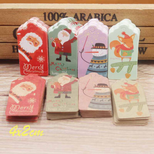 100PC//lot kraft printed merry christmas Gift Tags For Cake Party Label tag EW