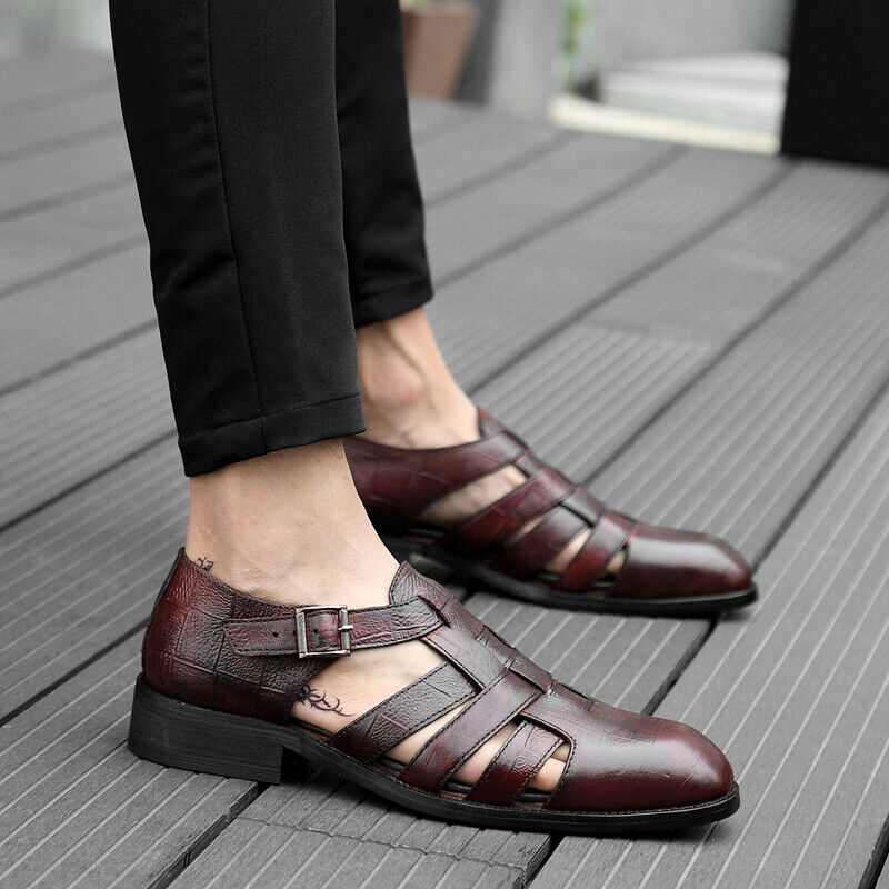 Retro Mens Hollow Strappy Faux Leather Sandals Round Toe Flats Ankle Strap shoes