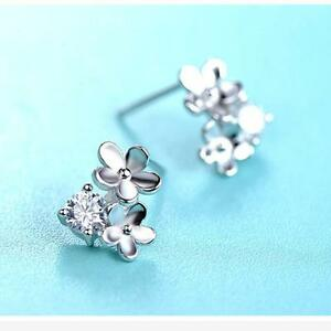 Gift-Jewelry-Hoop-Rhinestone-Crystal-Ear-Studs-Silver-Plated-Flower-Earrings