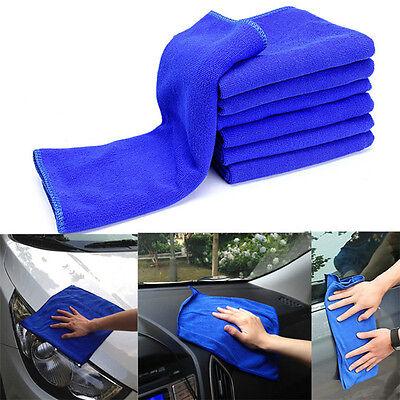 6PCS Microfiber Absorbent Towel Glass Door Car Cleaning Wash Polish Towel Blue