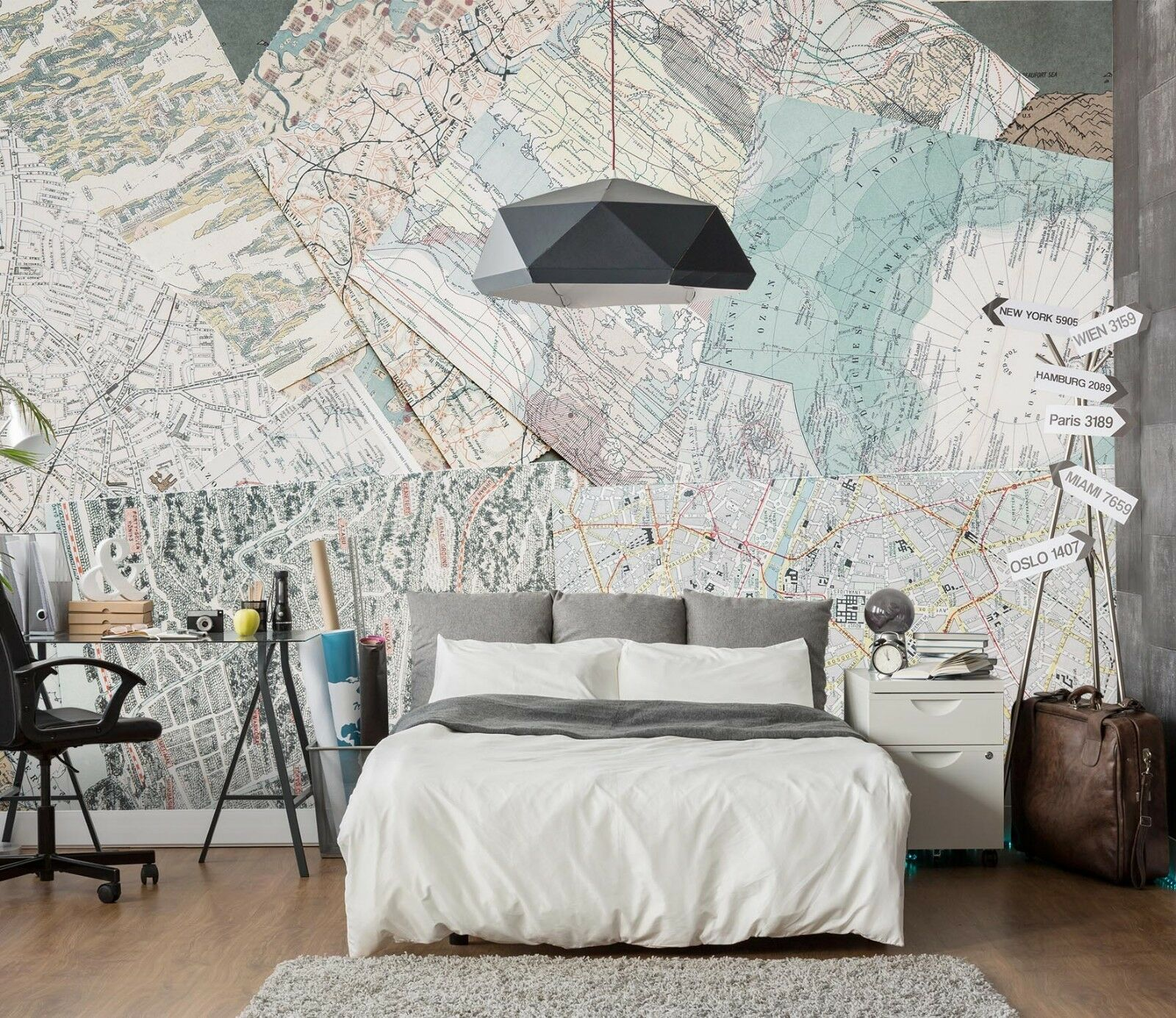 3D Route Map 563 Wallpaper Murals Wall Print Wallpaper Mural AJ WALL UK