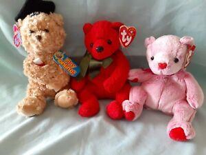 Ty Beanie Babies Bears ROMANCE, MISTLETOE and SCHOLAR MWMT MQ RETIRED VINTAGE