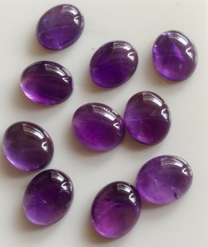 2 PC OVAL CUT SHAPE NATURAL AMETHYST 12x10MM CABOCHON LOOSE GEMSTONES