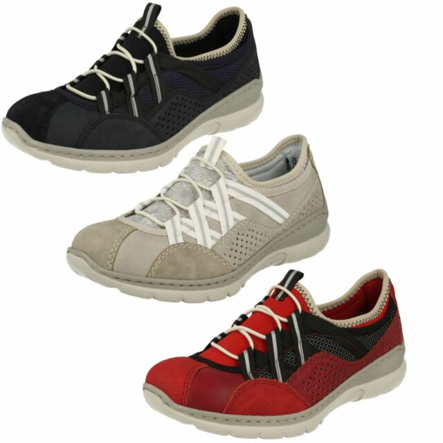 Ladies Rieker L3256 Red Grey Or Blue Synthetic Casual Slip On Trainer Shoes