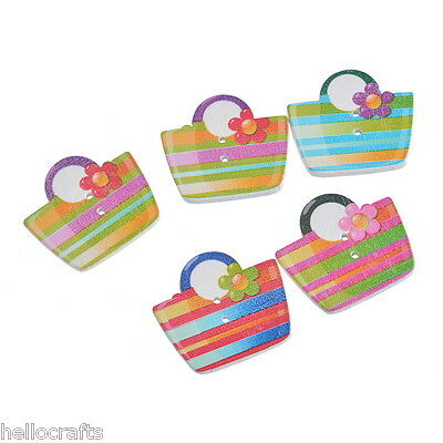 30PCs Craft Multicolor Shopping Bag Shape Card Wooden Buttons Scrapbook Sewing