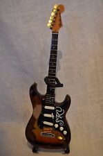 STEVIE RAY VAUGHAN FENDER CLASSIC SUNBURST MINI GUITAR & STAND AXE HEAVEN