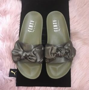 los angeles e8f43 7ebd2 Details about NWT NEW FENTY X PUMA BY RIHANNA SATIN BOW SLIDES OLIVE BRANCH  GREEN US 9.5