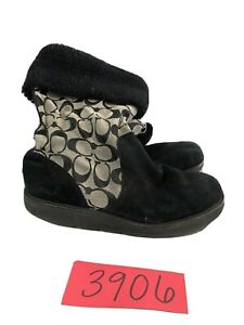 Coach-Kally-Womens-Boots-Signature-C-Black-Suede-Leather-Boots-Size-6-5-B