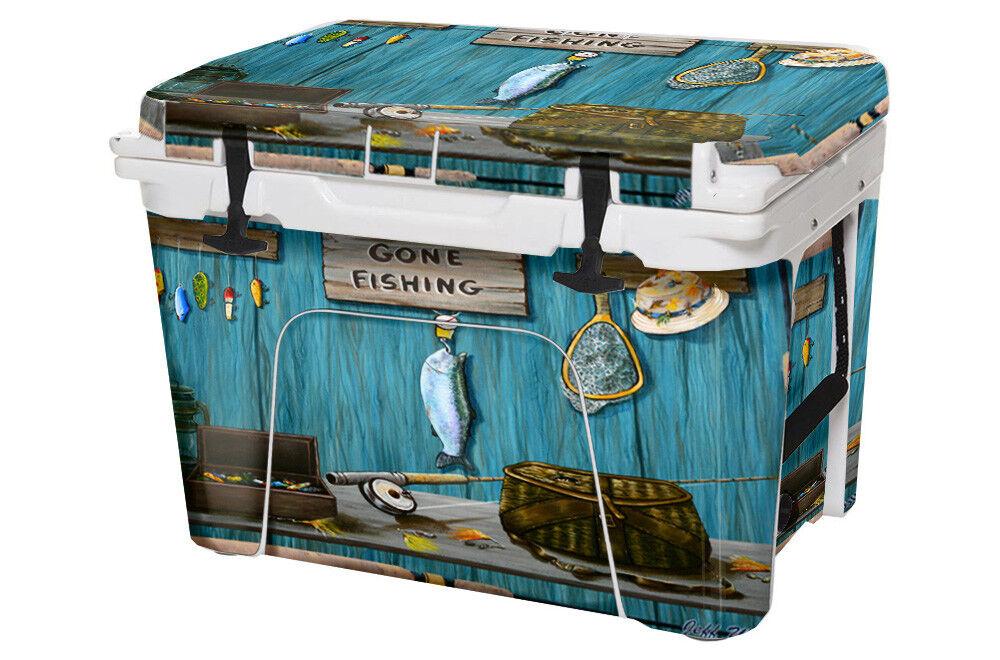 USATuff Custom Custom USATuff Cooler Decal Wrap fits YETI Tundra 125qt FULL Gone Fishing 7d389d