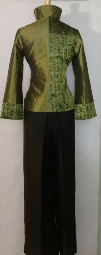 Asian Women Ladies Office Wear Jacket Silk with Floral Print and Two-Tone Design
