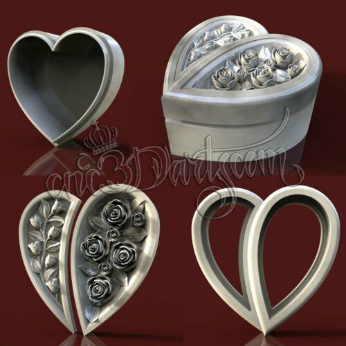 4 3D STL Models Heart Flowers Box for CNC Router Carving Machine Artcam aspire