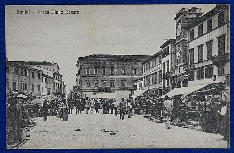 RIMINI Piazza Giulio Cesare marché animée no a voyagé voyagé voyagé années 20 f/p 20770 db7232