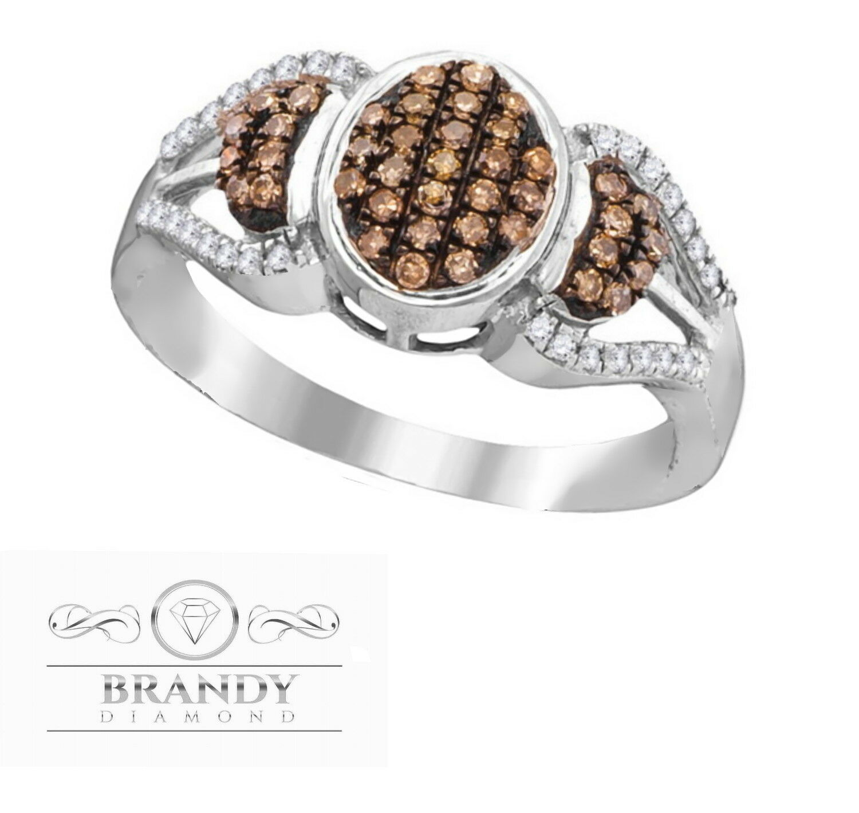 Brandy Diamond® Chocolate Brown 10K White gold Beautiful Lavish Pretty Ring .35C
