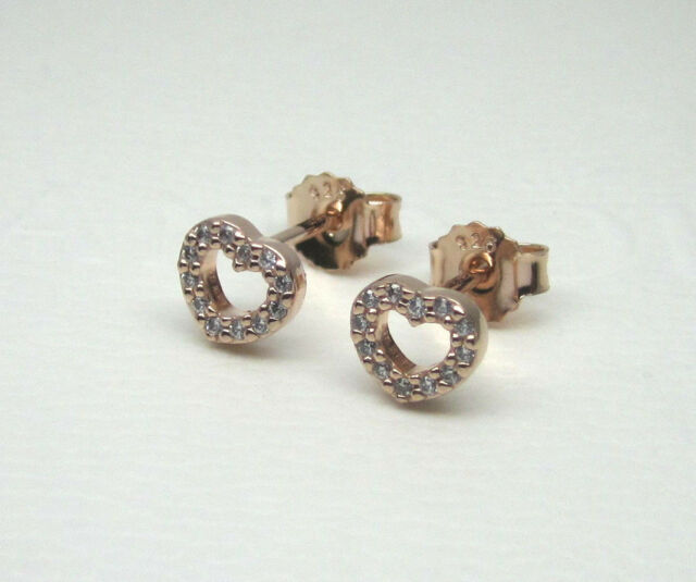 Authentic Pandora 280528cz Captured Hearts Stud Earrings Rose Collection