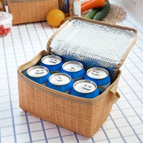 Wicker Picnic Basket Outdoor Tableware Box Lunch Vintage Wine Beach BBQ Travel