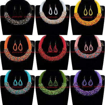 Fashion Jewelry Chain Resin Seed Beads Chunky Choker Statement Bib Necklace New