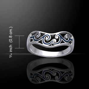 Wave Surf Surfing .925 Sterling Silver Ring by Peter Stone Jewelry
